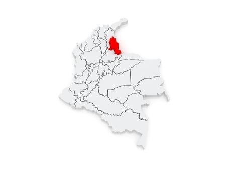 santander: Map of Norte de Santander. Colombia. 3d