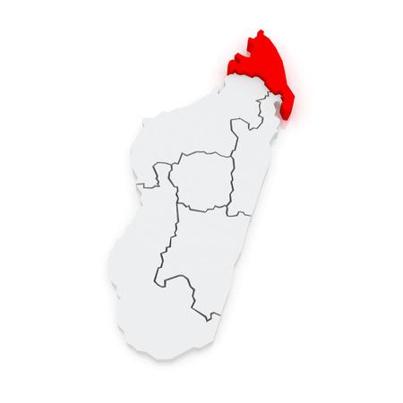 Map of Antsiranana. Madagascar. 3d