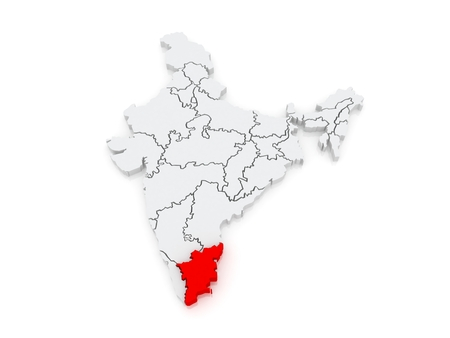 tamil nadu: Map of Tamil Nadu. India. 3d Stock Photo