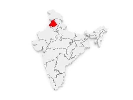india 3d: Map of Punjab. India. 3d