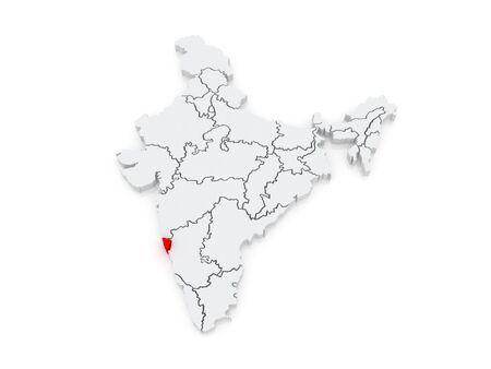 india 3d: Map of Goa. India. 3d