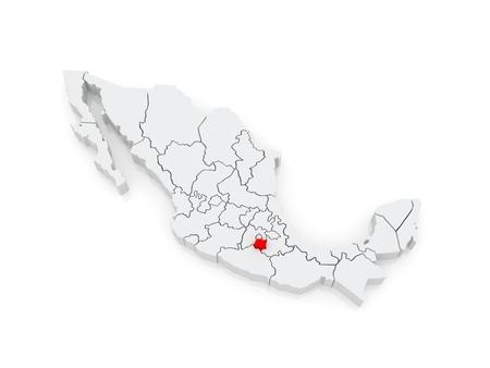 morelos: Map of Morelos. Mexico. 3d