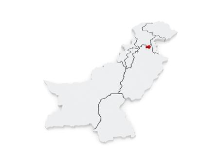 islamabad: Map of Federal Capital Territory Islamabad. Pakistan. 3d