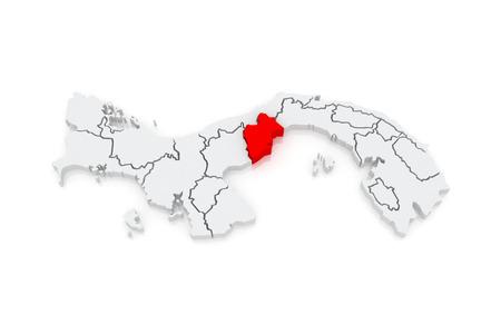 panama: Map of Western Panama. Panama. 3d Stock Photo