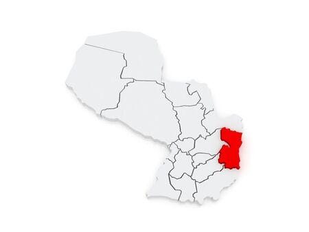 alto: Map of Alto Parana. Paraguay. 3d