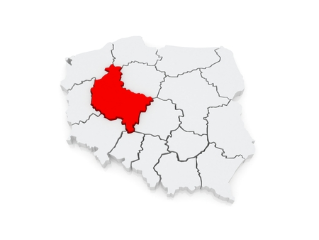 wielkopolska: Map of Wielkopolska. Poland. 3d Stock Photo
