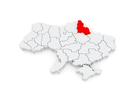 sumy: Map of Sumy region. Ukraine. 3d