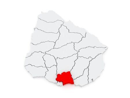Map of Kanelones. Uruguay. 3d