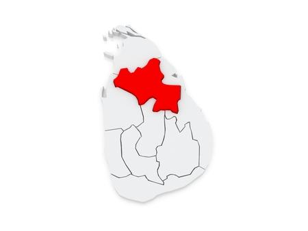 lanka: Map of North Central. Sri Lanka. 3d