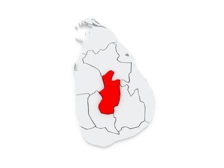 srilanka: Map of Central. Sri Lanka. 3d Stock Photo