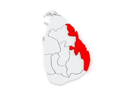 srilanka: Map of Eastern. Sri Lanka. 3d