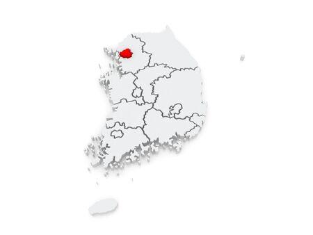 Map of Seoul. South Korea. 3d photo