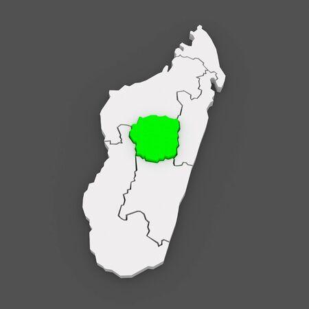 Map of Antananarivo. Madagascar. 3d