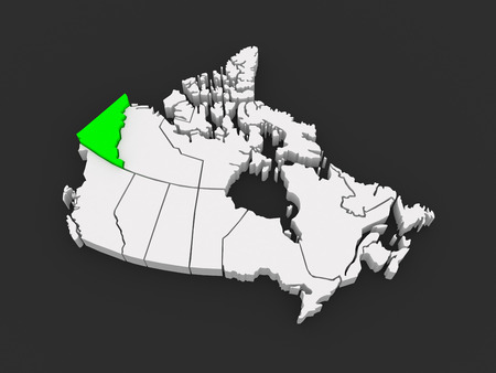yukon: Map of Yukon. Canada. 3d