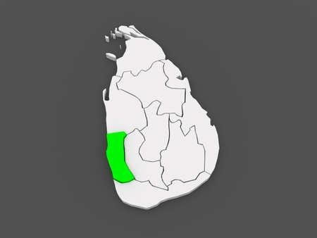 srilanka: Map of West. Sri Lanka. 3d