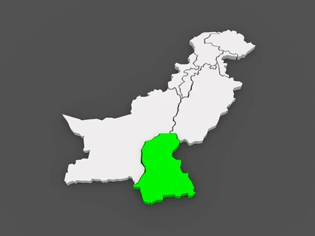 islamabad: Map of Sindh. Pakistan. 3d