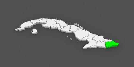 guantanamo: Map of Guantanamo. Cuba. 3d