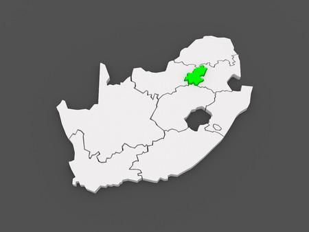 Map of Gauteng (Johannesburg). South Africa. 3d