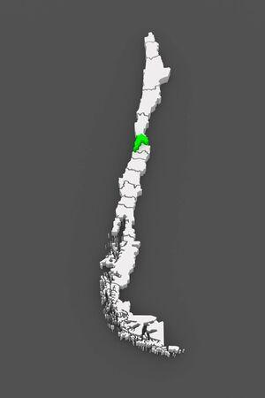 valparaiso: Map of Valparaiso. Chile. 3d