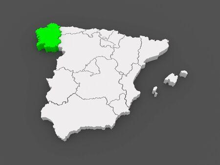 galizia: Mappa di Galizia. Spagna. 3d
