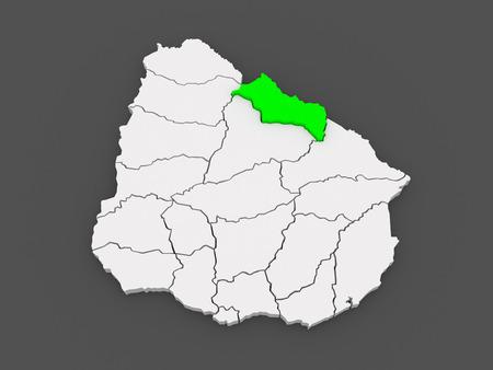 Map of Rivera. Uruguay. 3d