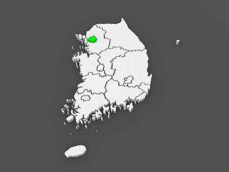 seoul: Map of Seoul. South Korea. 3d Stock Photo