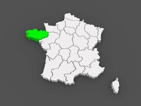 brittany: Map of Brittany. France. 3d