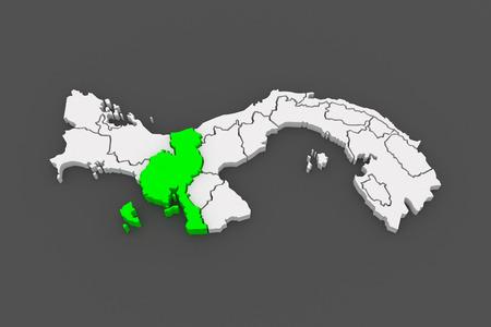 panama: Map of Veraguas. Panama. 3d Stock Photo