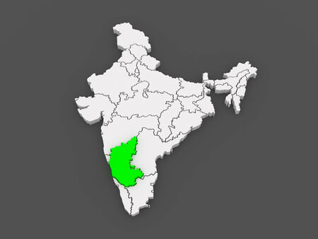 karnataka: Map of Karnataka. India. 3d Stock Photo