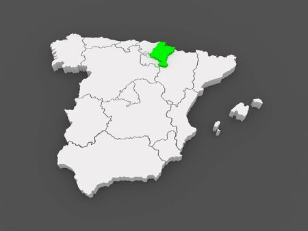 navarre: Map of Navarre. Spain. 3d