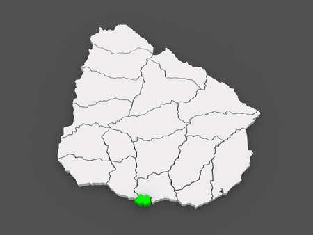 Map of Montevideo. Uruguay. 3d Фото со стока