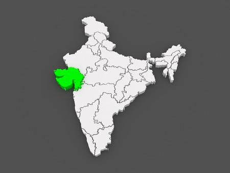 india 3d: Map of Gujarat. India. 3d Stock Photo