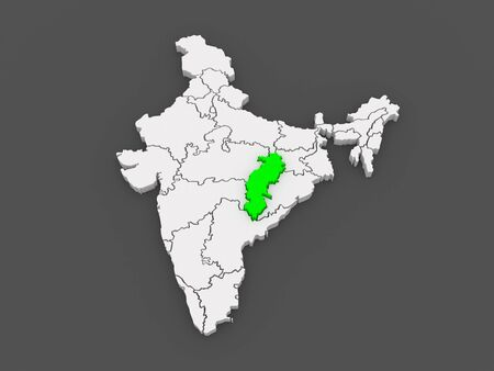india 3d: Map of Chhattisgarh. India. 3d Stock Photo