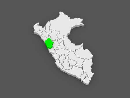 ancash: Map of Ancash. Peru. 3d