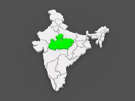 madhya pradesh: Map of Madhya Pradesh. India. 3d
