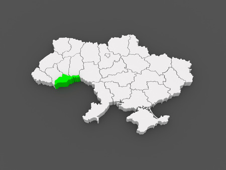 chernivtsi: Map of Chernivtsi region. Ukraine. 3d
