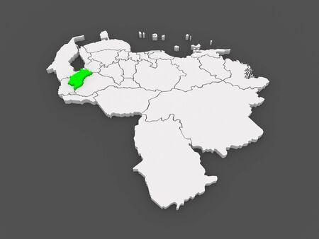 merida: Map of Merida. Venezuela. 3d Stock Photo