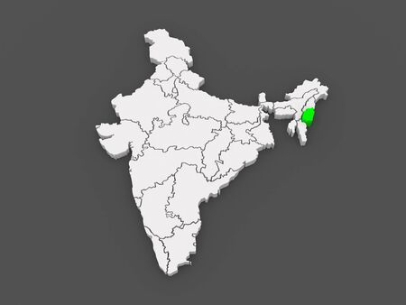india 3d: Map of Manipur. India. 3d