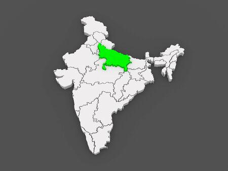 Map of Uttar Pradesh. India. 3d photo