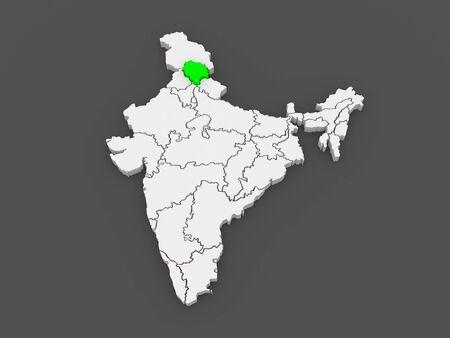 himachal pradesh: Map of Himachal Pradesh. India. 3d
