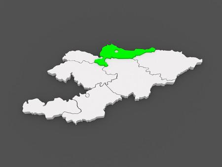 kyrgyzstan: Map of Chui. Kyrgyzstan. 3d