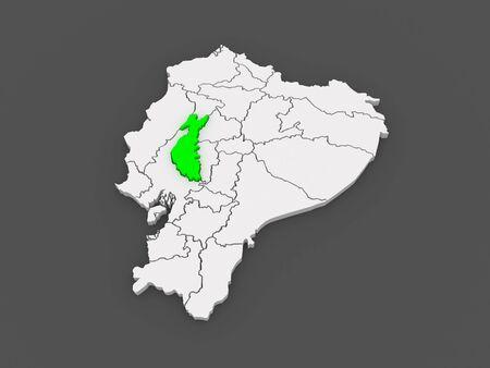Map of Los Rios. Ecuador. 3d