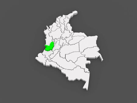 del: Map of Valle del Cauca. Colombia. 3d
