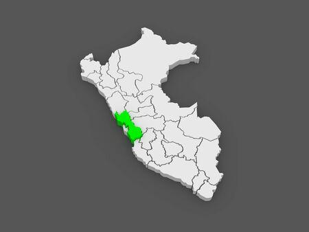 lima province: Map of Lima. Peru. 3d