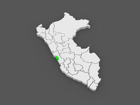 Map of Lima Metropolitana. Peru. 3d
