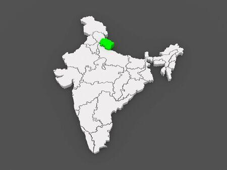 india 3d: Map of Uttarakhand. India. 3d Stock Photo