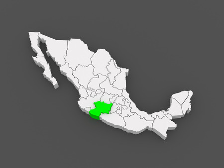 Map of Michoacan. Mexico. 3d