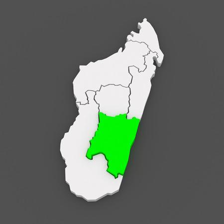Map of Fianarantsoa. Madagascar. 3d