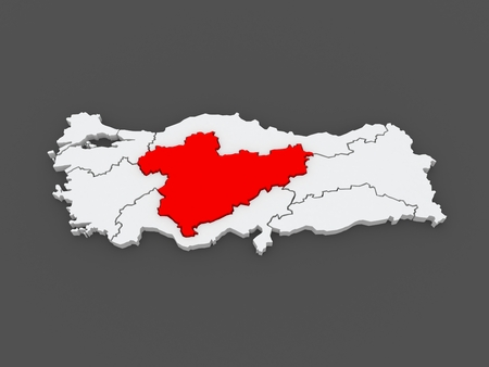 anatolia: Map of Central Anatolia. Turkey. 3d