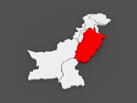 punjab: Map of Punjab. Pakistan. 3d